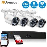 Sistemler Jennov 3MP CCTV Güvenlik POE NVR Kiti Sistemi 4CH 8CH Ses Kayıt Açık Kamera P2P Su Geçirmez IR Video Gözetleme Seti 3TB1