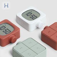 Modern Tasarım Çalar Saat Dijital Şarj Edilebilir Kare Elektronik LED Alarm Retro Topuzu Anahtarı Başucu Saat Gece Light 201120