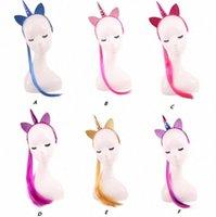 Decorative Unicorn Horn Fabband con lunghi parrucche Trecce Vestito Fantasia Natale Party Girl Lady Cosplay Glitter Ear Hairband Regalo Decorati M0b3 #