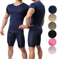 Modershirts Men Одежда для одежды Мужская Homme нижнее белье с короткими рукавами футболки Slim Fitness Tops Мужские пижамы брюки спячники1
