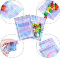 Sacs de mylar refermables Couleur holographique Taille multiple Sacs à l'odeur Sacs à ressorts Clear Zip Food Sacs d'emballage de rangement