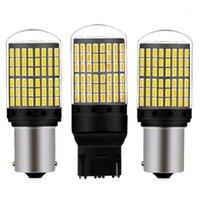Acil durum ışıkları 1 adet T20 7440 W21W 1156 BA15S P21W BAU15S PY21W LED Ampuller 3014 144SMD Canbus Hayır Hata Rezerv Lambaları Flaş Dönüş Sinyali Işık