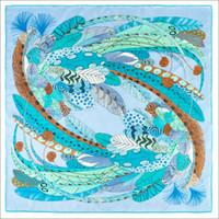 Женские шарфы двойные волосы для волос для волос обертываются 90 лучших шелковые шарвы ручной ручной повязки перья ФОЛЛАРД