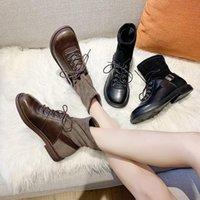 Buty Stylly Zima Kostki Damskie Skórzane + Stado Stretch Tkaniny Elastyczne Płaskie Obuwie Buty Boot Woman Half-Scock Botas Mujer