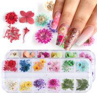 Mix Flores secas Decorações de unhas Jóias Natural Folha Floral Adesivos 3D Nail Art Decalques Polonês Manicure Acessórios