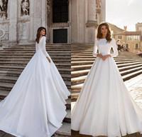 Elegante vestido de bola de satén vestidos de novia 2021 elegante marfil manga larga con cordones con cordones apliques boho boho bridales hechos a medida