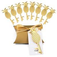 Regalo Wrap 50 x Caja de caramelo de la almohada de moda Cinta de la etiqueta del abridor de la botella en forma de piña de oro para los favores de la boda Fiesta de los regalos del partido Suministros de eventos