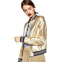 봄 멋진 패션 골드 PU 가죽 자켓 여성 폭탄 코트 스탠드 칼라 스트라이프 패치 워크 실버 여성 재킷 Streetwear LJ200813