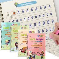 4 livres / ensembles de livres magiques d'enfants, réutilisables de calligraphie 3D, enregistrement en anglais numéro de lettre magique imprimante