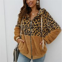 Chaqueta de las mujeres de piel falsa Mujer invierno leopardo remiendo de la manera Abrigo con capucha caliente grueso de la cremallera Escudo suave forro polar de abrigo
