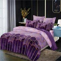 Venta caliente 3 lecho de las PC Establece Suministros dorado línea geométrica Elementos Rolney Qulit cubierta de almohada Inicio de cama
