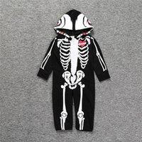 유아 유아 아기 할로윈 의상 패션 뛰어 돌아 다니는 후드 해골 해골 아기 Romper 점프 수트 의상 가을 아기 의류