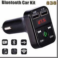 838D Bluetooth-гарнитура B2 Bluetooth автомобиль FM-передатчик Bluetooth Bluetooth Car Kit Adapter USB Зарядное устройство MP3-плеер Радио наборы поддержки Call