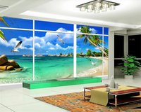 3d Mural Beautiful Wallpaper Natural Vista Mar Fora da decoração da parede Janela 3D Stereo Background TV 3D Wallpaper Paisagem