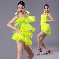 Детские взрослые латинское танцевальное платье для девушек кисточкой бахрома бахрома барабанчатая сальса танго танца национальная стандартная конкурентная практика Costumes1