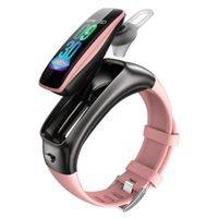 TB02 pulsera inteligente auricular bluetooth de la música del sueño del ritmo cardíaco de la presión arterial metros ejercicio podómetro 2-en-1 llamada