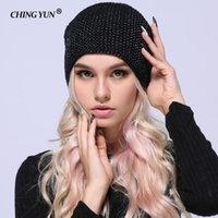 Mütze / Schädel Caps Ching Yun 2021 Wintergestrickte Skullies Warme Hüte für Frauen Kaschmir Strickmütze Hut Weibliche Wolle Flauschige Futter Silber Platte