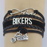 Encantos de plata plateado Infinito Amor ciclistas de la motocicleta de la bici del motor brazalete de cuero ajustable para mujeres hombres joyería