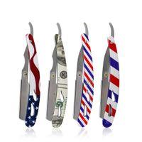 Porte-lame de rasoir classique professionnel Hommes Hommes Poignée en acier inoxydable Barrière droite Barber Razor Porte-rasoir pliant rasoir de rasage