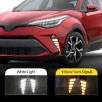 2PCS Car LED DRL Daytime Running luz Para a Toyota CHR CHR 2020 2021 com dinâmica virar amarelo luz de nevoeiro Signal Daylight
