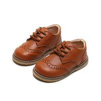 SKOEX Kinder Brogue Leder-Schuhe schnüren sich oben Jungen Mädchen Formal Oxford Freizeitschuhe Anti-Rutsch-Soft-Kind-Baby-Uniform-Kleid-Schuhe C1008