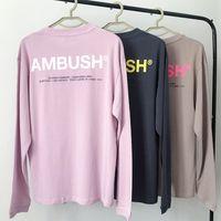Pembe Kayısı Büyük Pusu T-Shirt Erkekler Kadınlar Katı Renk Etiketleri Rahat Üst Tee Pusu Uzun Kollu Yansıtıcı T Gömlek X1227