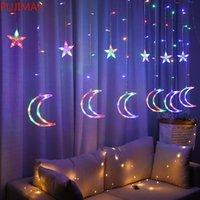 220V EU-Stecker 3,5m LED Moon Star Lampen Fairy Vorhang Licht Weihnachten Garland String Lights Lampe Für Neujahr Hochzeitsdekoration