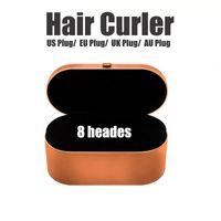 Stokta AB / İNGILTERE / ABD / AU 8 KAHVLAR Saç Bigudi Hediye Kutusu Ile Çok Fonksiyonlu Saç Styling Cihazı Otomatik Curling Demir NormalTop Kalitesi için