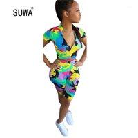 Suwa Camouflage Stampa Two Piece Set Streetwear Donne Casual O Collo Manica corta con zip T-shirt Top e pantaloncini Skinng Outfits1