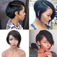 11,11 shopping venda Curto Pixie Lace Wigs Pixie Cut peruca reta cabelo de Remy do brasileiro 150% Densidade máquina feita de cabelo humano perucas para mulheres