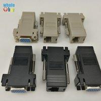 VGA Extender Adaptör Kadın Lan Cat5 Cat5e / RJ45 Siyah 300pcs 6 RJ45 ethernet Kadın Adaptör Bağlanıyor VGA / LOT