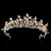 Barok Altın Prenses Şapkalar Kristal Dangle Küpe Chic Gelin Tiaras Aksesuarları Çarpıcı Kristaller Düğün Tiaras ve Kron 5.5 * 37cm