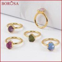 Anillos de racimo Borosa 10pcs Colores mixtos Color de oro FreeForm Rainbow Druzy para mujeres, Moda Drusy Gems Joyería Party G14501