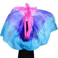 Сцена носить профессиональные ручной работы шелковые завесы животно-танцевальный шарф шал градиент многоцветных вуаль аксессуары для детей взрослых1