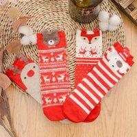 Socken Strumpfwaren 2021 Weihnachtsfrauen Cartoon Rot Hund Elch Bär Baumwolle Niedlich Für Frühling Herbst Winter Geschenk Größe 35-421
