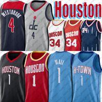 Houstons John 1 Wall Basketball Jersey Washtons Russell 4 The Westbrook Jerseys Rembe Hakeem 34 Olajuwon Джерси