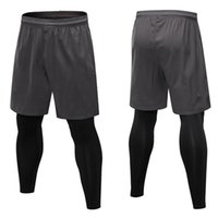 Men Fitness Pants Fake Two Pieces Tight Fitting Training Run...