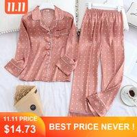 Lisacmvpnel manga larga Otoño pijama de seda del hielo pantalones largos de la manga del juego de impresión de la manera pijamas Set C1115