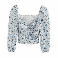 Klacwaya sexy impresión manga corta blusa femenina otoño mujeres cortas tops verano elegantes elegantes blusas chicas top1