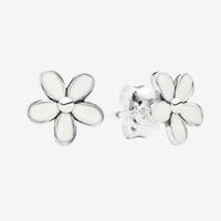 Белые ромашки цветок серьги серьги для женщин красивые женщины летние украшения с коробкой для серебра серебра 925 серебра