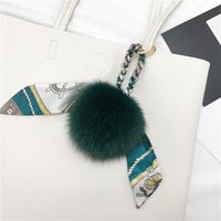 Шелковый шарф лисы волосы мяч кулон кожа сумка кулон для волос аксессуары для волос аксессуары для автомобильных ключевых аксессуаров подвеска