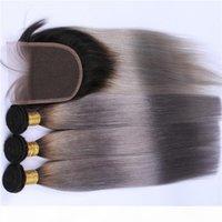 Brésilien Gris Argent Ombre humaine Cheveux 3Bundles avec fermeture Ombre droite 1B Gris foncé Racine dentelle fermeture 4x4 avec Tissages Extensions