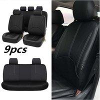 أسود بو الجلود مقعد السيارة غطاء كامل مجموعة الجبهة المقعد الخلفي وسادة حصيرة حامي