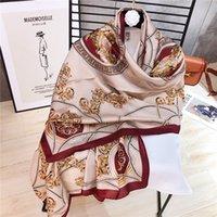 Moda 2019 nuevo verano pañuelos de seda de imitación de las mujeres bufandas primavera y el otoño todo-en-uno la playa aire acondicionado toalla chal 180 * 90cm