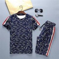 Desenhador de Verão Homens Tracksuits Dupla Letras Impresso Outfits Casual Menino Esportes Hort Sleeves Pant Suit M-3XL