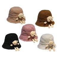 الكورية نمط المرأة الشتاء رقيق أفخم الدافئة دلو قبعة لطيف 3d محشوة تيدي بير واسعة بريم المتناثرة في الهواء الطلق بنما الصياد