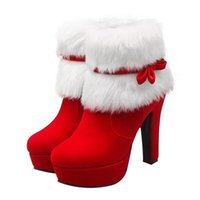 Fashionable Festive Heels Christmas Winter Suede High- Heeled...
