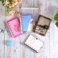 A6 binder غطاء الملء دفتر قذيفة rainbow الليزر الموثق شفافة دفتر اليوميات غطاء دفتر مخطط الموثق المدرسية 19 L2