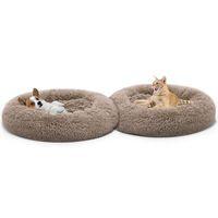Теплый флисовой кровать собаки круглая подушка шезлонга для маленькой среды большие собаки кошка зимняя собака питомник щенок коврик для домашних животных кровать LJ201028