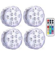 الغاطسة أضواء LED 10 LED RGB تحت الماء صيد مصباح بطارية تعمل التحكم عن بعد لاسلكي متعدد الألوان حوض سباحة